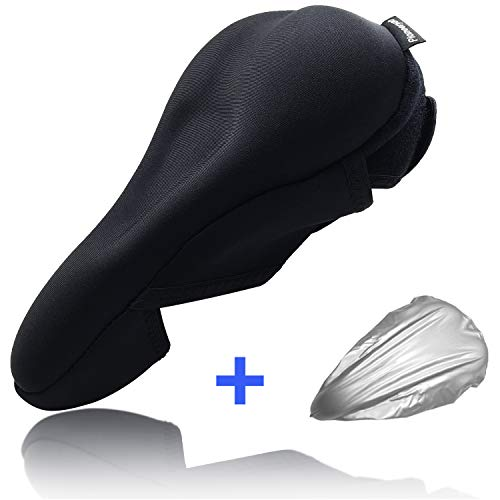 Pioneeryao Gel Bike Seat Cover, Extra Soft Anti-Slip Bike Seat Cushion Cover with Rain Cover for Women and Men - Fits Cruiser and Stationary Bikes, Indoor Cycling