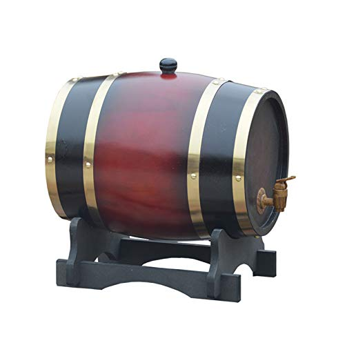 HWhome Fass Trinken 5L/10L/20L/30L Weinspender, Holzfass Whiskyfass Eichenfass Weinfass Zur Lagerung Von Wein/Bier/Whisky(Mit Weinglashalter)(Size:30L)