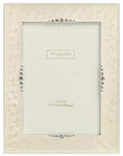 Addison-Ross - Portaritratti Laccato con Brillantini, Ideale per Foto di Nozze, 12,7 x 17,8 cm, Crema