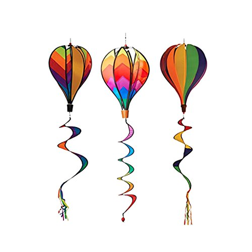 Perfeclan 3pcs Heißluftballon Windmühle Windrad Windspiel Garten Balkon mit lockigen Schwanz