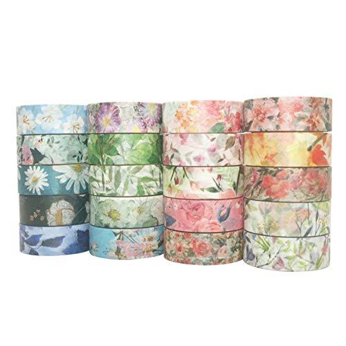 Paper Tape Color 40-delige set bloemen maskeertape set lentebloem decoratieve papieren linten voor kunst en DIY ambachtelijke gift planner geschenkverpakking vakantie decoratie