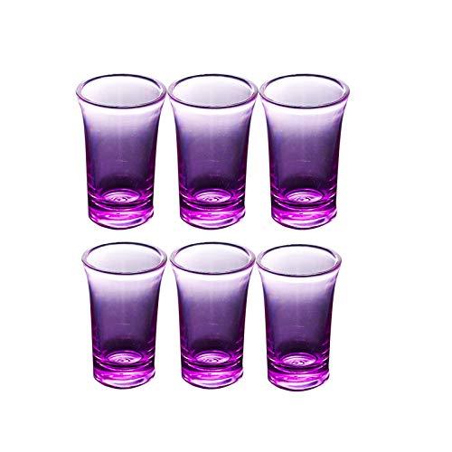 Drinmis 6 Glas Schnapsgläser Shotgläser Set für Schnapsglasspender und Halte, Tequila Shotgläser- Spülmaschinenfest (Lila)