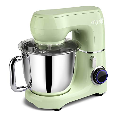 Mini angel Stand Mixer,10-Speed 5.5QT Kitchen Electric Mixer with DIY Color Stickers,Tilt-Head Food Mixer with Dough Hook, Wire Whip, Flat Beater, Stainless Steel Bowl - Green