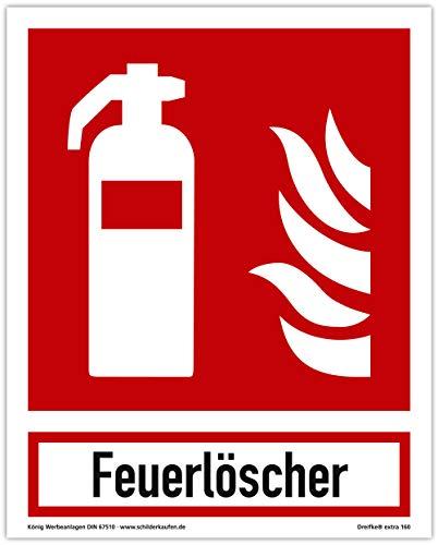 Schild Feuerlöscher | extra langnachleuchtend | PVC selbstklebend 200x250mm | mit Schriftzug Feuerlöscher | DIN EN ISO 7010 F001 | DIN 67510 (Brandschutzzeichen) Dreifke® extra 160