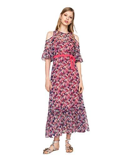 Twin-set lange jurk van chiffon met bloemen