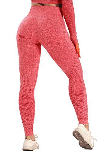 FITTOO Leggings Sin Costuras Mallas Mujer Pantalon Deportivo Alta Cintura Yoga Elásticoss #1 Rojo Medium