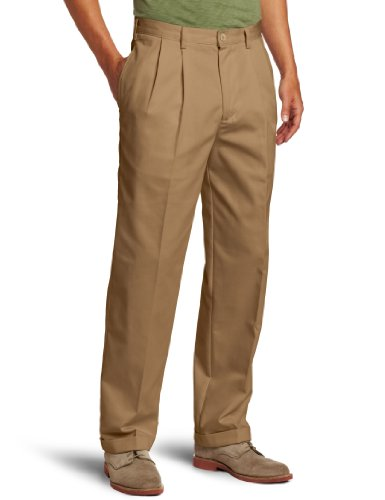 IZOD Men's American Chino Pleated Pant, English Khaki, 42W x 30L