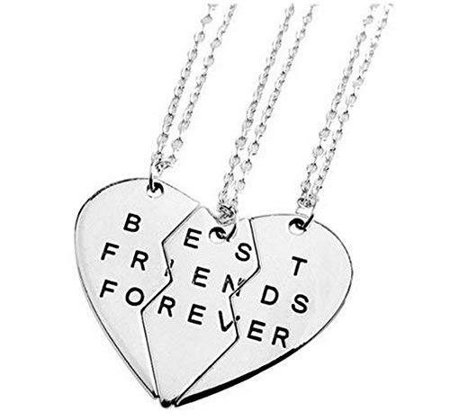WHC-TECH 3pcs lot Jewelry Necklaces Best Friend Metal Necklaces Couples Three Part Necklaces