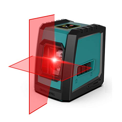 Kreuzlinienlaser, RockSeed Selbstnivellierend Linienlaser 13M ± 0,3 mm/m, 360° Drehbar Magnetische Vertikale/Horizontale Roter Laser IP54 Staub & Wasserschutz 2*AA Batterien & Schutztasche – L52R