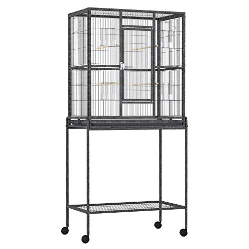 """PawHut 30"""" Rolling Metal Bird Cage Feeder with Detachable Rolling Stand, Storage Shelf, Wood Perch & Food Container"""