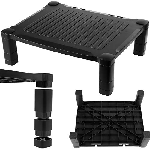 Monitor Stand for Desk - Screen Riser PC Computer, Printer, Projector, Game Console Shelf, Table Top TV, Laptop - Home Office - Height Adjustable with Anti-Slip Rubber Feet & Cable Management - Black