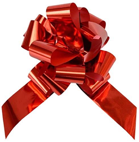 Nastri Fiocco Rapido Lucido Reflex Macchina Auto Sposi Matrimonio Coccarda Strip Cerimonia San Valentino-50 Pz 50 Mm Laurea Natale, Rosso, Confezioni