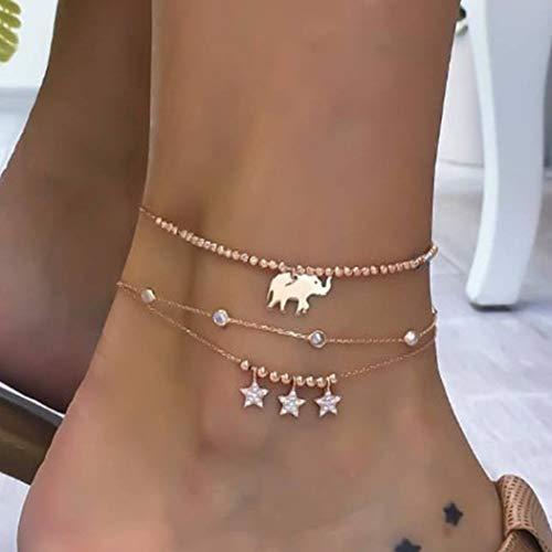 Tobillera con diseño de elefante en capas de oro de Ludress Boho con estrás para mujer y niña