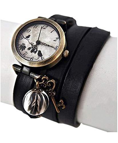 Bestseller - Echte Feder Echtleder Armbanduhr Wickeluhr