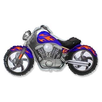 LOONBALLOON Motorcycle Harley Davidson Hog Bike Blue Orange Flame 45  Party Mylar Balloon B