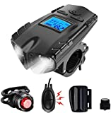 VLOXO Wireless Bike Speedometer with LED Bike Light, USB Rechargeable Bicycle Computer with Bike Alarm Bell, IPX7 Waterproof Bike Cycle Odometer Light Set Headlight Front Light