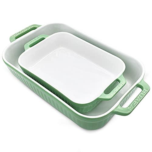 HUAFA Auflaufform Keramik Rechteckige 2er Set Auflaufform groß mit Keramikgriffen Eckige Ofenform ideal auch für Lasagne Kratz- und schnittfeste,Innenmaße: 23.5x18x5 cm /33.5x22x7 cm,hellgrün