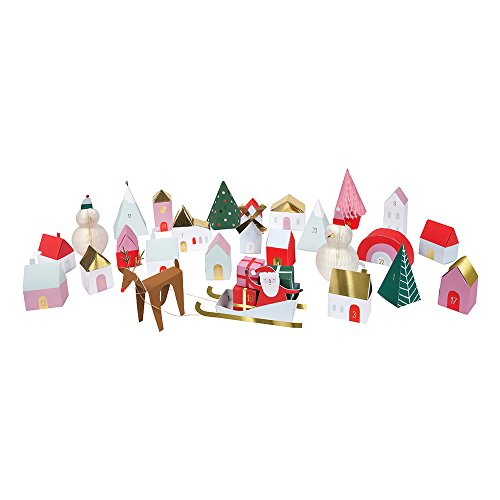 Adventskalender Weihnachtsdorf - kleine Schachteln in Form eines Dorfes zum Befüllen