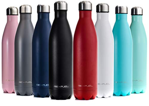 Re-Fuel 25oz Metal Water Bottle Stainless Steel Vacuum Insulated - 18/8 (304) Double Wall Travel Thermos Hydroflask with Copper Plating Technology, 24 Hours Cold and 12 Hours hot.