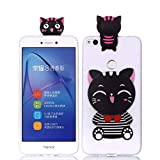 LAXIN Cute 3D Cat Case for Huawei P8 Lite (2017) ,Ultra Slim Fit Soft Silicone Gel Bumper Shockproof...