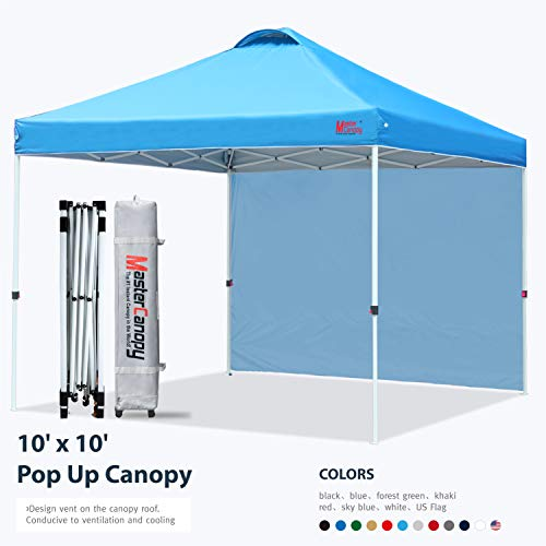 MASTERCANOPY Patio Pop Up Instant shelter 10x10 Beach Canopy Better Air Circulation Canopy with Wheeled Backpack Carry Bag (Sky Blue)