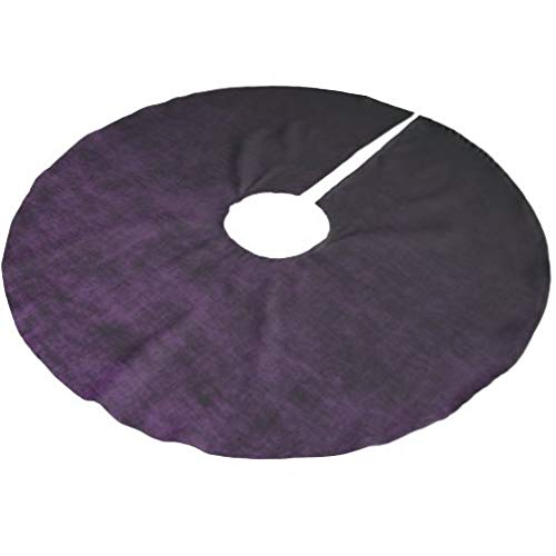 onepicebest Merry Christmas Tree Skirt, Grunge Black and Purple Ombre Tree Skirt Xmas Tree Decorations for Farmhouse Party, Tree Mat Cover 36 Inch