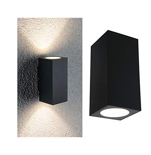 Paulmann 94328 LED Außenleuchte 2er Set Außenwandleuchte Flame IP44 Warmweiß eckig incl. 2x2,8 Watt Außenbeleuchtung Anthrazit Außenlampe Aluminium Gartenlampe 3000 K