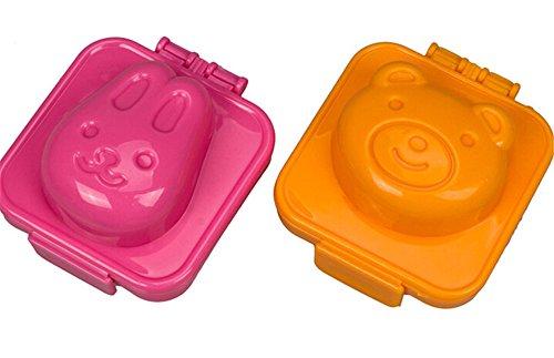 BestMall - Scatola porta pranzo Bento a 2 livelli, completa di bacchette e fascia Rabbit Bear