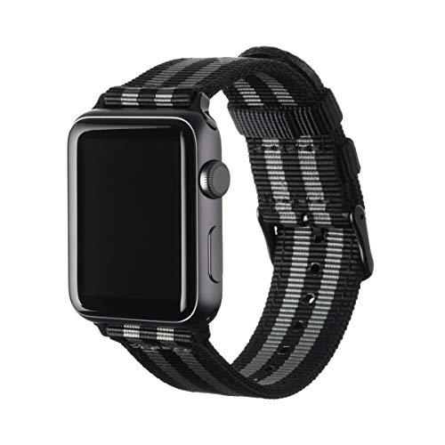 Archer Watch Straps - Nylon Uhrenarmband für Apple Watch - Schwarz und Grau (James Bond)/Schwarz, 42/44mm