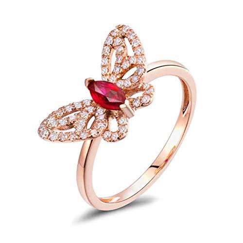 AnazoZ Anillo con Rubi Mujer,Anillos de Oro Rosa Mujer 18K Oro Rosa y Rojo Mariposa Rubí Rojo 0.24ct Diamante 0.25ct Talla 12