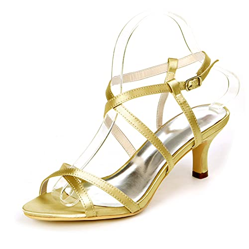 Zapatos De Boda De Satén Sandalia con Punta Abierta Y Hebilla En...