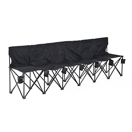 Outsunny Campingbank Faltbank Gartenbank Klappbank Bank Camping 6-Sitzer mit Tragetasche, Oxford+Metall, Schwarz/Blau, 279x48x80cm (Schwarz)