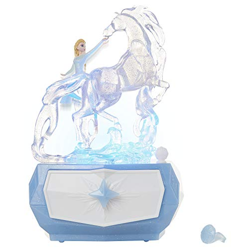 "Disney Frozen 2 Elsa & Water Nokk Jewelry Box with Snowflake Ring, Color Changing Light, Plays ""Into The Unknown"""