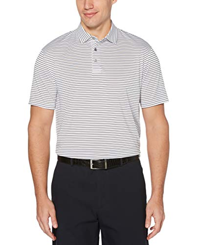 PGA TOUR Men's Short Sleeve Feeder Stripe Polo Shirt, White