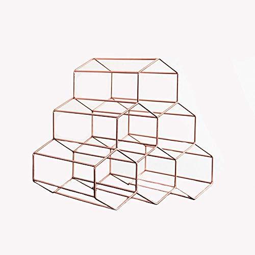 GLYYR Weinregal Rose Gold Weinregal, freistehender Weinregal, Sechseckiger modernes Design Weinregalkabinett, Platz für 6 Flaschen Rotwein (Color : Gold2, Size : 28.5X21.5X27.5cm)