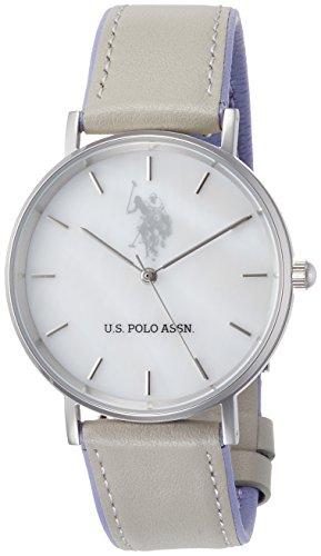 [ユーエスポロアッスン]U.S.POLO ASSN 腕時計 ホワイトシェル文字盤 ライトグレー×ラベンダーレザー クォーツ ユニセックス US-1A-LG 【正規輸入品】