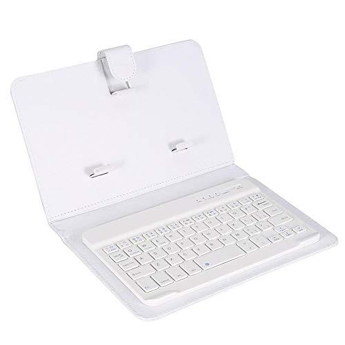 Teclado y Estuche Bluetooth, Soporte de Banda magnética Desmontable Teclado inalámbrico Bluetooth 3.0, Resistente a los arañazos,Adecuado para teléfonos móviles iOS/Android(Blanco)