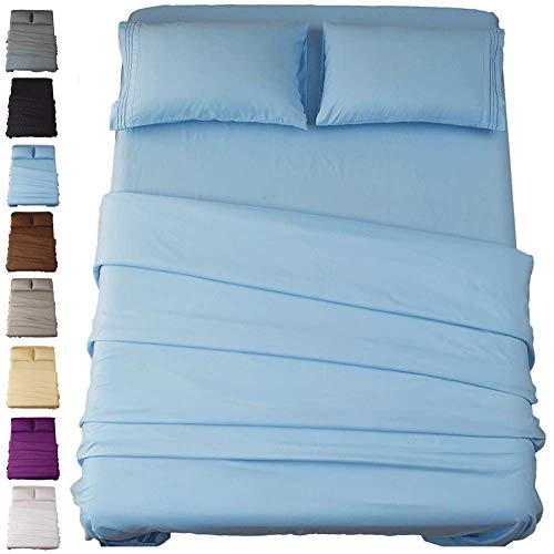 SONORO KATE Bed Sheet Set Super Soft Microfiber 1800 Thread Count Luxury Egyptian Sheets 16-Inch Deep Pocket Wrinkle and Hypoallergenic-4 Piece(Queen Lake Blue)