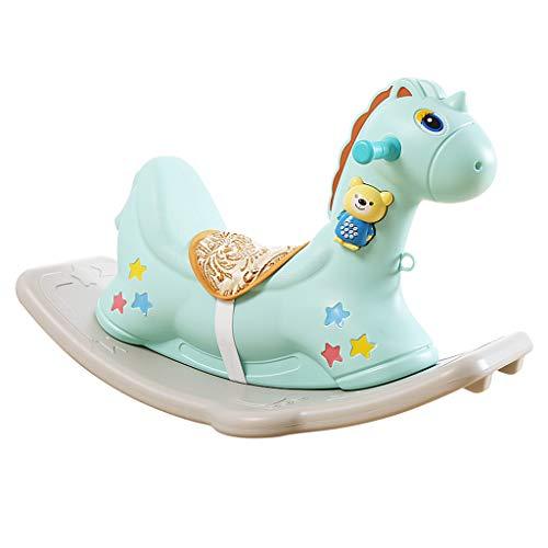 Schaukelpferd Spielzeug Baby Kunststoff groß Dual-Use 1-2-6 Jahre alt mit Musik (Color : Blue)