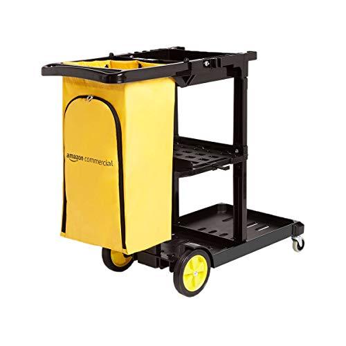 AmazonCommercial - Carro de limpieza con bolsa con cremallera y 2 estantes ✅
