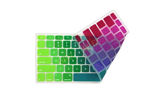 """DHZ Rainbow Macbook Keyboard Cover Soft Silicone Skin for 2015 or Older Model MacBook Pro 13 15 17"""" and MacBook Air 13 (No Fit for 2016 Released Latest New Macbook Pro 13 15 with/without Touch Bar)"""