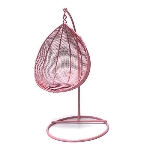 Uticon Giocattolo dell'amaca dell'altalena, 1/12 casa delle bambole in miniatura mobili altalena amaca giocattolo decorazione domestica ornamento da giardino - rosa