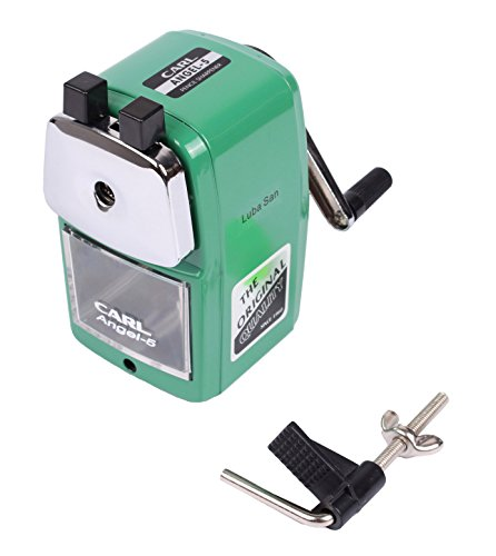 CARL Angel 5 Manual Pencil Sharpener Heavy Duty but Quiet for Office and Home Desks School Classroom,Green Photo #7