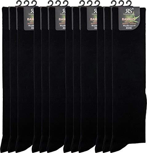 RS. Harmony | Kniestrümpfe | Bambus Super Weich Atmungsaktiv | 12 Paar | schwarz | 35-38