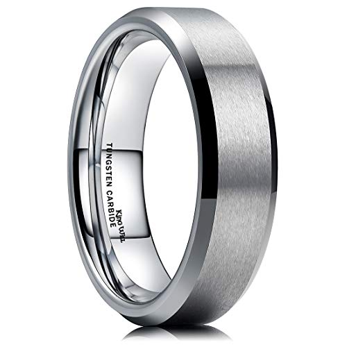 King Will 6MM Wedding Band for Husband Tungsten Carbide Engagement Ring Comfort Fit Beveled Edges (11.5)