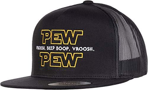 Pew Pew Wars   Funny Sci-fi Space Star Noises Science Geeky Cap, Nerdy Dad Hat-(Trucker) Black
