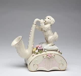 Cg 80080 White Dog Standing on Pillows Playing Saxophone