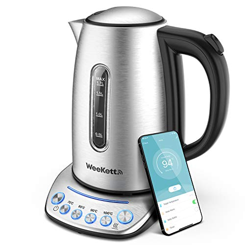 WEEKETT Smart WiFi Kettle | App Remote Control | Compatible with Alexa, Google Home and Siri | Digital Temperature Control 2200W with Keep Warm Function, Stainless Steel, 1.7L