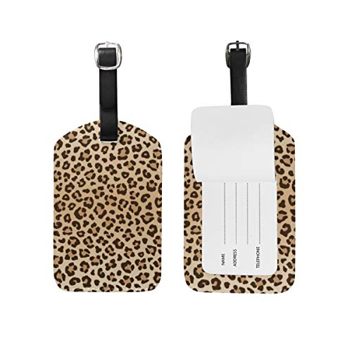 Moyyo Leopard Animal Print Luggage Tag Suitcase Tags Leather Travel Baggage Luggage Identify ID Tags Labels for Suitcases Luggage Tags with Privacy Cover