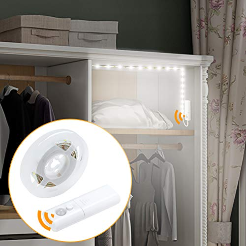 Amagle LED Motion Sensor Strip Closet Light 2 AA Batteries Operated Dual Mode Motion Activated Closet Under Bed Counter Cabinet Night Lights with Sensor for Bedroom Kitchen Mirror Nature White 4000K